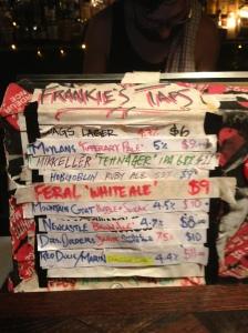 Frankie's Tap List last Wednesday