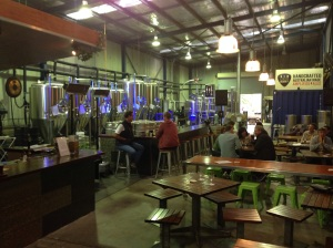 Drinking in a brewery