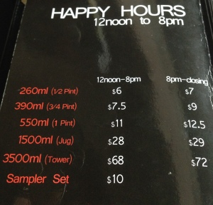 The price list - Happy hour ain't that happy